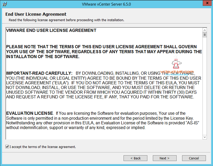 VMware vcenter Installation end user license agreement eula i accept
