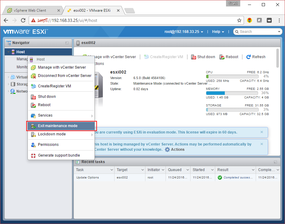 vmware vsphere esxi server ui login embedded web client how to exit maintenance mode.png